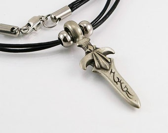 Sword pendant in free lead pewter on leather cord, mens necklace, men pendant, sword pendant, swor, men jewelry, leather necklace, men gift