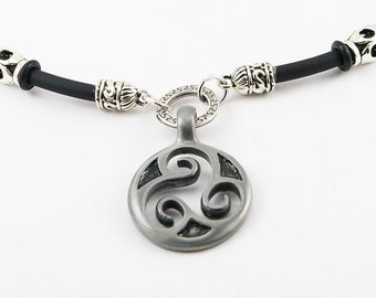 Triskele mens necklace on rubber cord,men pendant, mens necklace, triskele pendant, triskele, celtic pendant,men jewelry, men gift,