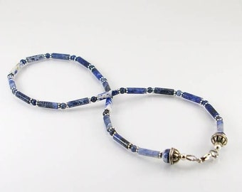 Natural sodalite mens necklace,mens necklace, men jewelry, sodalite necklace, unisex necklace, men gift,