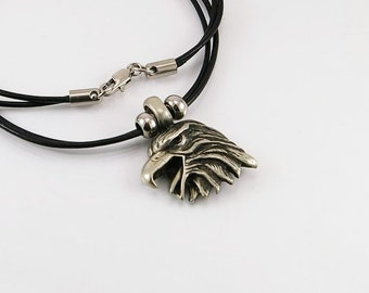 Mens necklace with eagle head pendant in free lead pewter on leather cord, mens necklace, men pendant, eagle pendant, eagle, men jewelry