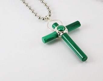 Malachite mens necklace with cross pendant with stainless steel chain, mens necklace, mens pendant, mens jewelry, cross, mens gift idea