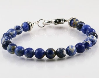 Sodalite mens bracelet, men jewelry, gemstone men bracelet, gemstone bracelet, blue bracelet, unisex bracelet, men gift