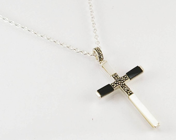 Featured listing image: Cross pendant in sterling silver and natural mother-of-pearl, black onyx and marcasite, men necklace, men pendant, men pendant necklace,