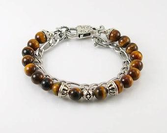 Tigereye mens bracelet w stainless steel chain, mens bracelet, gemstone bracelet, gemstone men bracelet,  , men jewelry, tigereye