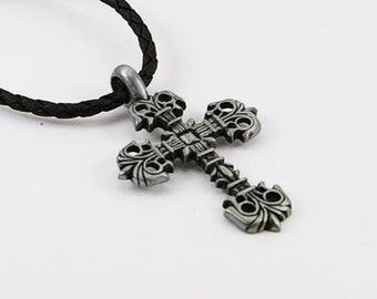 Mens necklace with cross pendant on adjustable leatherette cord, mens necklace, mens pendant, cross pendant, mens jewelry, cross, mens gift