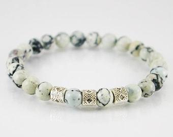Dentritic jasper mens bracelet, mens bracelet, gemstone bracelet, men jewelry, unisex bracelet, men gift, jasper bracelet,spiritual bracelet