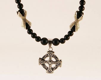 Men medieval necklace with black onyx, men necklace,men onyx necklace, medieval necklace, celtic necklace, celtic cross, men cross pendant