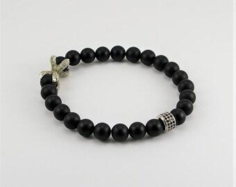Men  gemstone bracelet with matte black onyx and dragon claw, gemstone bracelet, bracelet, men bracelet, men jewelry, dragon style bracelet