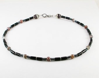 Black onyx mens necklace with botswana agate , mens necklace, mens beaded necklace, mens stone necklace,mens gift,healing necklace