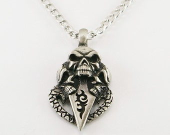 Skull with dagger pendant, men pendant, men necklace, skull pendant, skull pendant necklace, men gift,