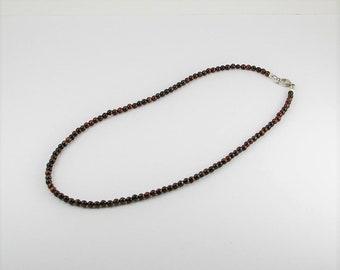 Natural red tigereye mens necklace,mens necklace, men jewelry, tigereye necklace, unisex necklace, men gift,