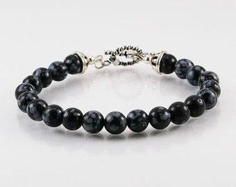 Snowflake obsidian mens bracelet with sterling silver clasp, mens bracelet, gemstone bracelet, gemstone men bracelet, men jewelry