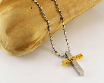 Men cross necklace with JESUS sign, men necklace cross pendant, men cross pendant, men jewelry, men gift idea