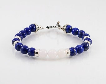 FREE SHIPPING! Lapis lazuli and Malaysia jade mens bracelet, mens bracelet, gemstone bracelet, lapis bracelet, men jewelry,men gift