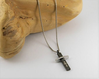 Men black cross necklace , men necklace cross pendant, men cross pendant, men jewelry, men gift idea