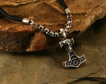 Thor Hammer men necklace, medieval pendant, men necklace, men pendant, men jewelry, medieval jewelry, hammer, men gift idea