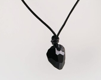 Mens necklace with Rock pendant on leather cord, mens necklace, leather necklace, crystal , men jewelry, black necklace, unisex necklace