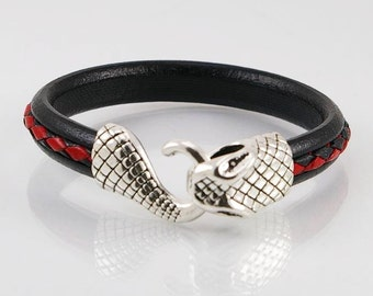 Leather mens bracelet with braided leather cord