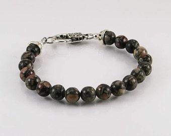 Fossil agate bracelet, mens bracelet, gemstone bracelet, gemstone men bracelet, beaded bracelet, men jewelry,beaded bracelet, agate bracelet