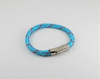 Nautic mens bracelet with two tone cord and stainless steel clasp, men bracelet, men cord bracelet, unisex bracelet, men gift, surf bracelet