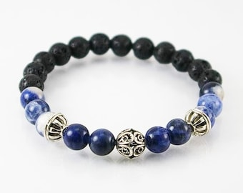 Mens bracelt with sodalite and lava rock , mens bracelet, gemstone bracelet, men jewelry, unisex bracelet,men gift, lava rock,