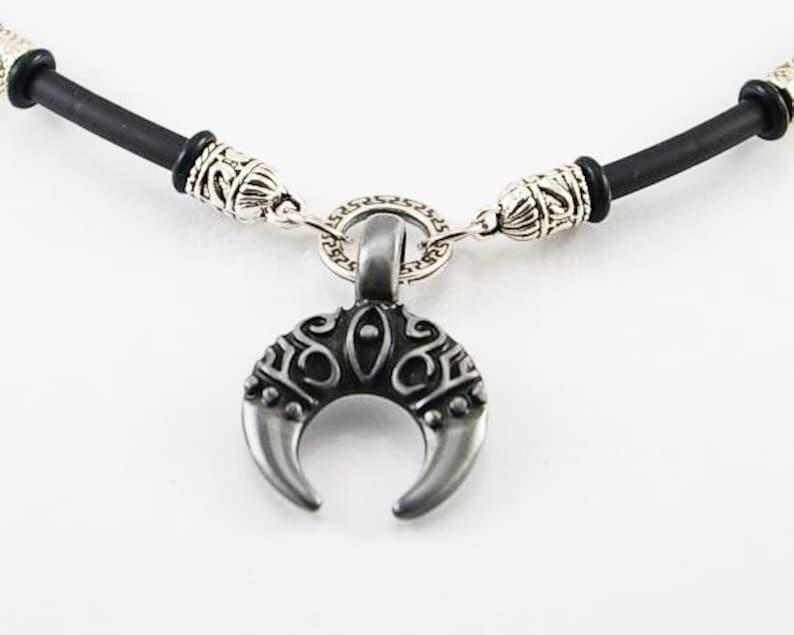 men gift mens necklace moon pendant mens necklace pendant Moon crescent necklace on rubber cord crescent pendant men jewelry