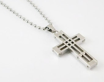 Cross mens necklace with pendant and chain in stainless steel , mens necklace, mens pendant, mens jewelry, cross, mens gift, stainless steel