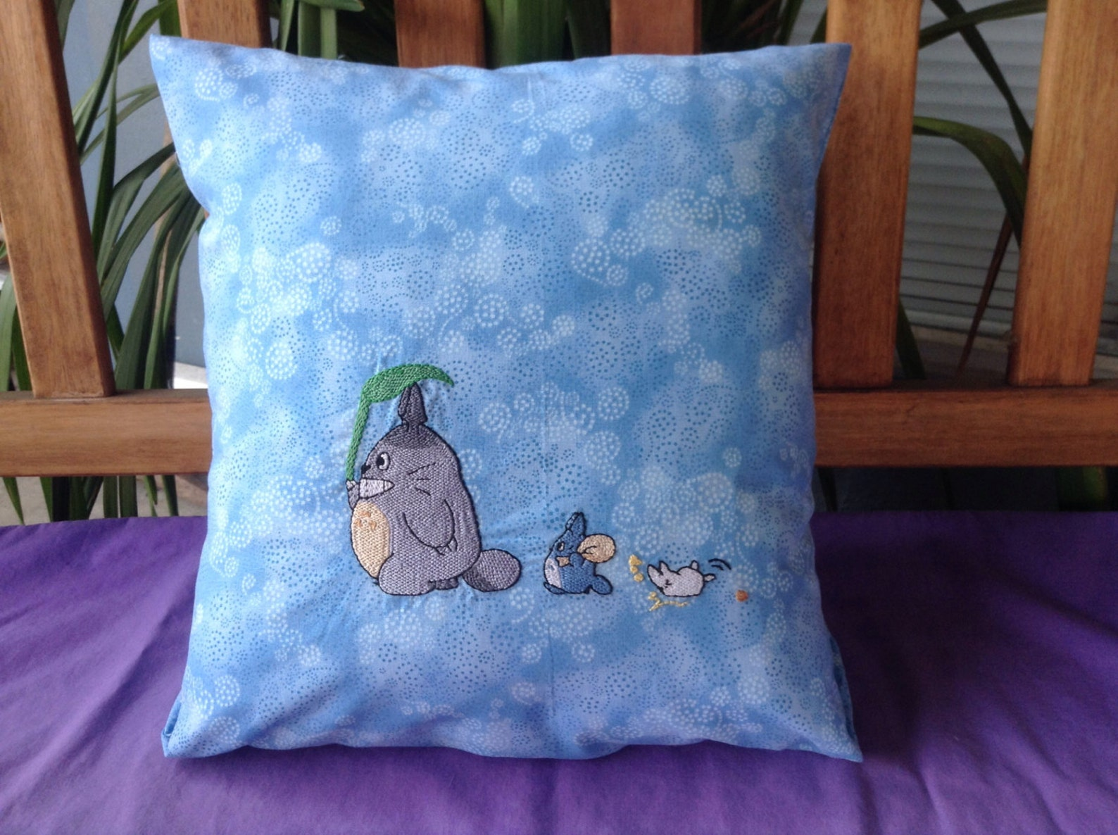 Our Neighbor Totoro, Totoro and Friends, Studio Ghibli homemade embroidered pillow
