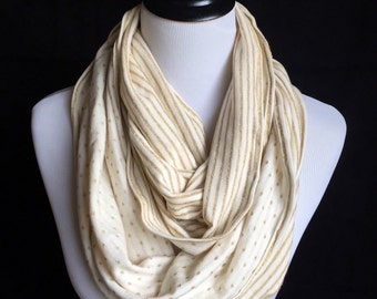 Beige/ golden knit infinity scarf. Elegant chic circle scarf.