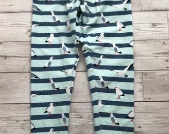 Handmade Leggings Stripey Seagulls