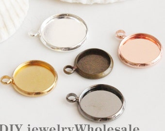 20pcs Bezel Setting,Pendant Trays Base,Round Bezel Cups with one connector,Charms Bezels, Cabochon Setting,Jewelry Pendant Blanks Suppliers