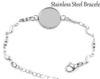 5pcs 10mm-25mm 316 Stainless Steel Bracelet Base Settings,Stainless Steel Bracelet Trays , Stainless Steel Bezel Bracelet Blanks