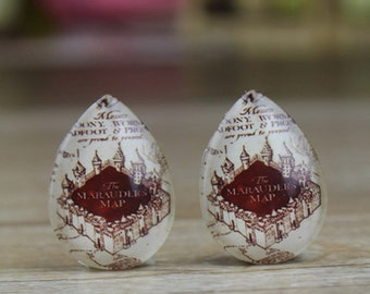 4pcs 18x25mm Handmade Photo Teardrop Glass Cabs Cabochons Harry Potter Marauders Map  - 25X18mm Cabochons-22-9