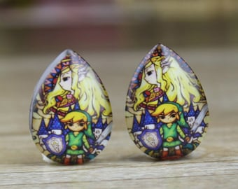 4pcs 18x25mm Handmade Photo Teardrop Glass Cabs Cabochons  The Legend of Zelda   - 25X18mm Cabochons- SD 088