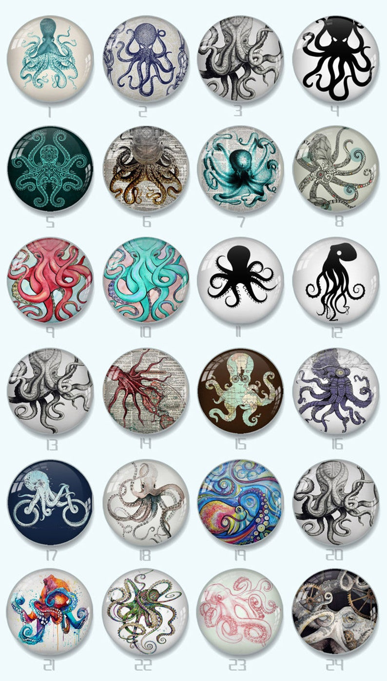 octopus handmade cabochons,glass cabochons,round cabochons,illustration cabochons,Digital cabochons 8MM-58MM xy861