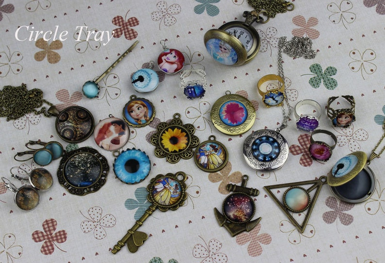 800 10pcs 12mm Handmade Photo Glass Cabochons  Clear Glass Cabochons