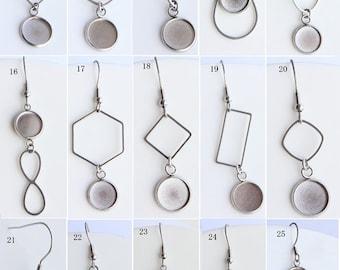 20pcs Surgical Steel Earring Blank, 8-25mm Earrings Bases Settings Cabochon , DIY Earring Kits, Bezel Earring Trays