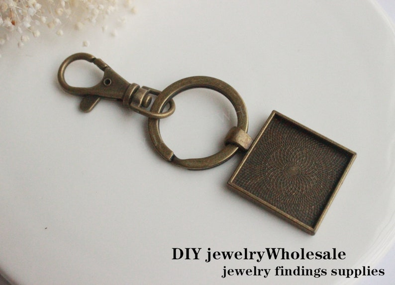 Base Setting Key ring chains Key chains blank bezel 10sets square Photo Keychains DIY Kit  25mm key chain attachments pendant trays