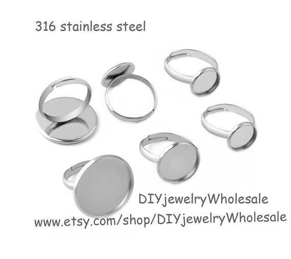 10pcs Stainless Steel Round Bezel Ring Blanks 10mm 25mm Ring Settings Stainless Steel Ring Base,Ring Bezel,Plain Ring Settings