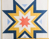 Expanding Stars quilt pattern - Emily Dennis - Quilty Love Beginner friendly, easy half square triangle quilt, modern quilt includes 5 sizes