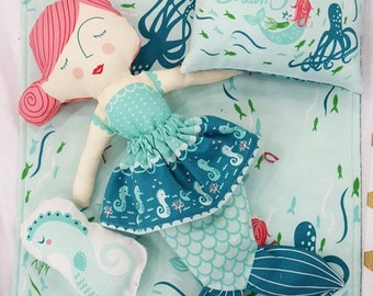 Coral Queen Mermaid Doll Fabric Panel by Moda 100% Cotton, Stacy Iest Hsu mermaid panel coral queen of the sea