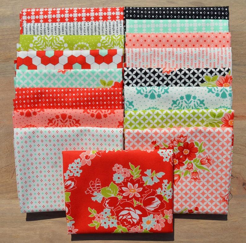 Moda Fabrics text Handmade Fat Quarter Bundle floral modern geometric 17 Fat Quarters hexis 100/% cotton Bonnie and Camille