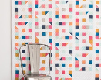 Friendly Stars quilt pattern by Emily Dennis of Quilty Love jelly roll friendly modern geometric quilt includes 4 size options