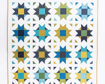 Compass Star quilt pattern by Emily Dennis of Quilty Love fat quarter friendly modern geometric quilt includes 5 size options
