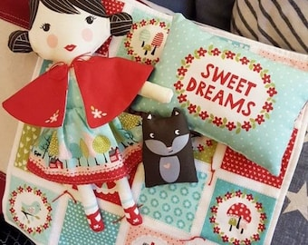 Lil Red Doll Fabric Panel by Stacy Iest Hsu for Moda fabrics 100% Cotton Little Red Riding Hood, craft panel, make your own doll panel