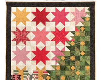 """Patchwork Christmas Quilt pattern by Judi Madsen Modern Christmas Quilt Finished quilt is 72"""" by 72"""""""