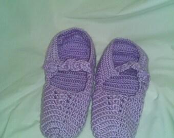 Crochet Adult Baby Booties/ Little Ballerina Slippers -Orchid Women 10/11 wide