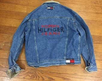 01c6ce9e 90s HILFIGER Denim Jacket tommy spellout Large jean Jacket Womens oversized  Boyfriend jean jacket big flag tommy LOGO denim coat