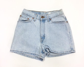 097b2362d1 90s LEVIS 512 Shorts High Waist Denim Shorts size 26 Jean Shorts xs FADED Short  Shorts extra small Tight Jean WEDGIE Shorts high waisted