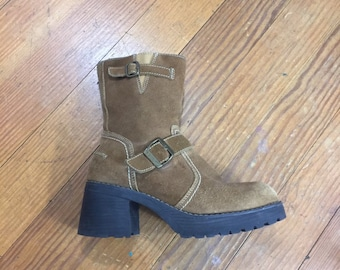 1430ddefc200 90s suede PLATFORM Boots CHUNKY Heel Booties Zip Up Tall Mid calf Boots Size  8.5 9 Brown Platforms 39 uk 6.5 round toe Ankle Boots